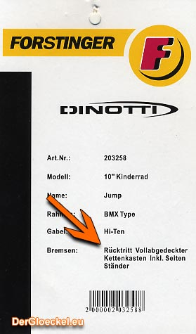 Rücktrittbremse wird als Produktausstattung auf jedem Fahrrad ausgewiesen