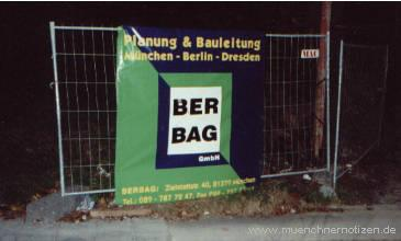 Das Transparent der BERBAG - Generalunternehmer ist allerdings Fa. PETERS
