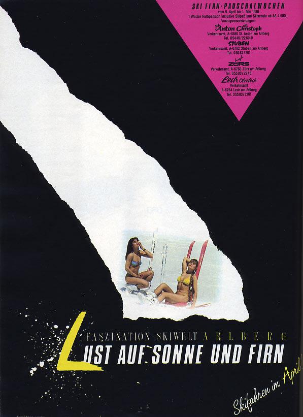 """März 1988 - Werbung """"Lust auf Sonne und Firn Arlberg"""""""