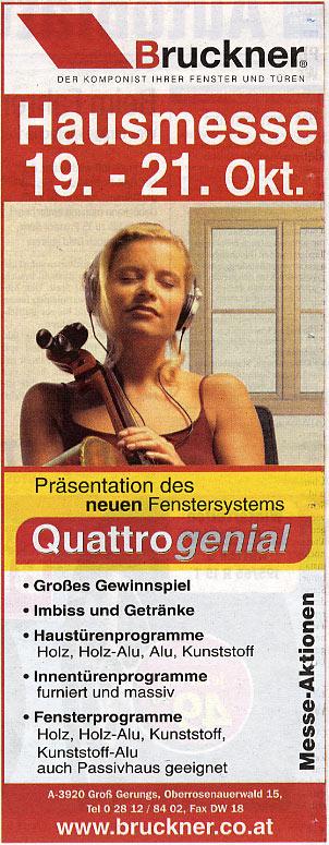 """Oktober 2007 - Werbung für die """"Bruckner Hausmesse - Quattro-Fenster"""""""