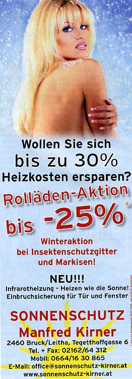 "November 2007 Werbung ""Sonnenschutz Kirner"""