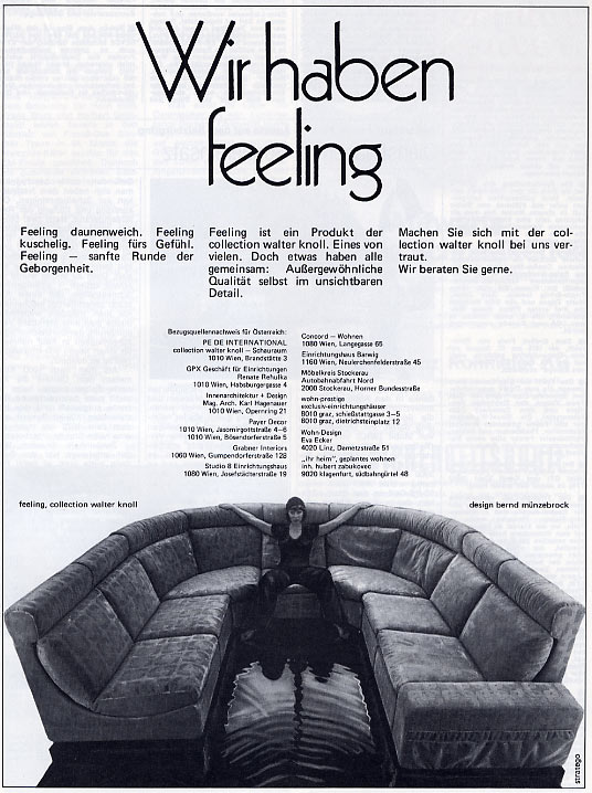 "Dezember 1974 - Werbung ""Feeling Möbel Walter Knoll"""