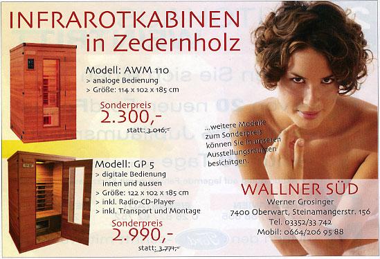 """Dezember 2007 - Werbung für """"Infrarotkabine-Wallner-Süd"""""""