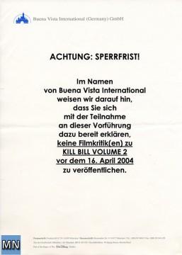 Verpflichtungserklärung der Buena Vista International zu Kill Bill 2 aus 2004