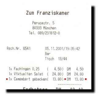 Faksimile der Rechnung