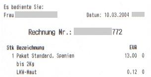 Faksimile einer Rechnung der Österreichischen Post für ein Auslandspaket