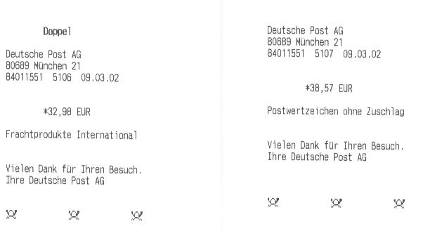 Faksimile der Belege der Deutschen Post statt 71,49 EUR 71,55 EUR gefordert