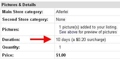 Gebührenpflicht am US-Portal von eBay bei Einstellungen mit einer Laufzeit von 10 Tagen
