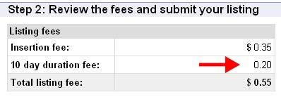Gebührenaufstellung bei ebay.com - USA
