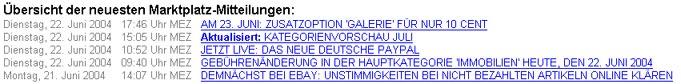 eBay Mitteilungen am 23.6.2004 Deutschland-Portal