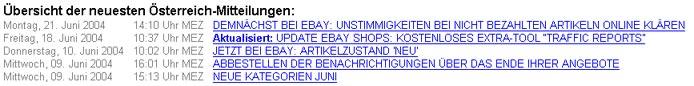 eBay Mitteilungen am 23.6.2004 Österreich-Portal
