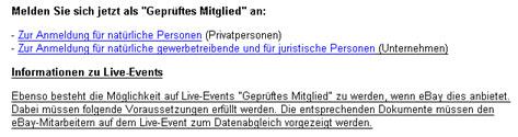 Faksimile der eBay-Information über ID-Überprüfung