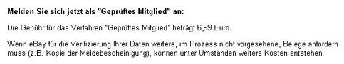 Faksimile der eBay Österreich Information über den Status - geprüftes Mitglied
