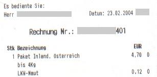 Faksimile einer Rechnung der Österreichischen Post für ein Inlandspaket