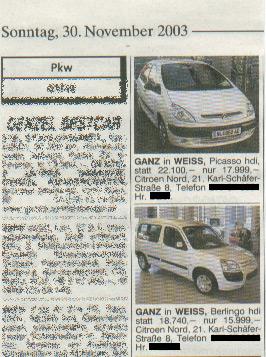 Inserate in der Tageszeitung am 30.11.2003