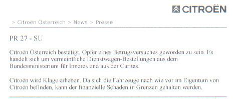 Der vollständige Text der Pressemitteilung von Citroën vom 7.7.2003