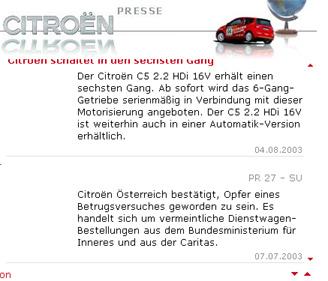 Sreenshot der Presseseite von Citroën vom 7.7.2003
