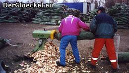 "der ""Schäler"" oder ""Fräse"" zum Anspitzen der Bäume"