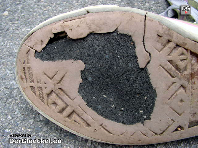 Detailaufnahme der Schuhsohle
