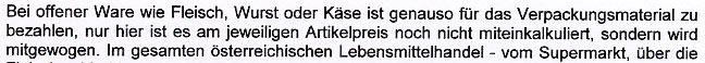 Faksimile aus der Stellungnahme der SPAR Österreichische Warenhandels-AG