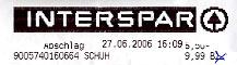 Faksimile der Rechnung vom INTERSPAR
