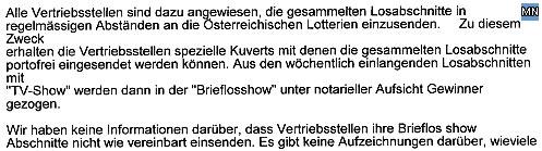 Faksimile aus dem Statement der Österreichischen Lotterien GmbH zu dem Sachverhalt