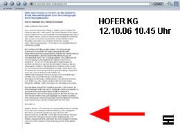 Screenshot nach der Richtigstellung der HOFER KG zu seinem Lieferanten am 12.10.06