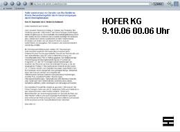 Screenshot vor Differenzierungshinweis bezüglich der Perlinger GmbH vom 9.10.06