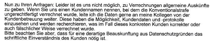 Faksimile aus der Stellungnahme der UPC Austria GmbH