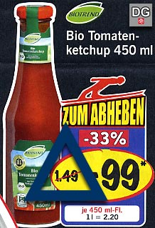 Preisvergleich BIO-Ketchup aus dem Lebensmittelhandel ./. McDonald´s-Ketchup