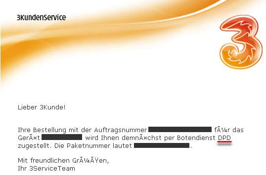 """Faksimile der Kundenbenachrichtigung von """"3"""""""