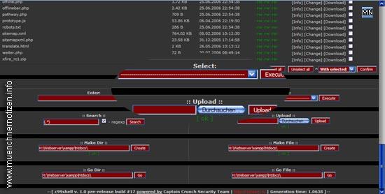 Screenshot der Admin-Oberfläche der durch Hacker eingepflanzten C99shell