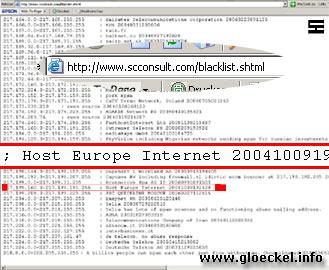 [M] - Screenshot über eingetragene SPAM-Server von HOST EUROPE am 13.9.06 in der Blacklist von www.scconsult.com