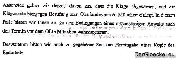 Faksimile aus dem Schreiben RA Schlögl an RA Walkerling