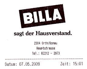 Billa Notausgang Filiale Orth/Donau