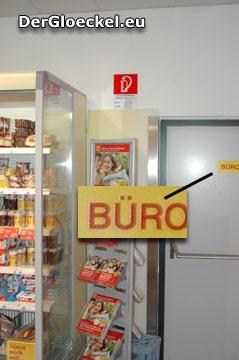 Die vergrößerte Ausschnittsdarstellung des als BÜRO gekennzeichneten NOTAUSGANGES beim BILLA
